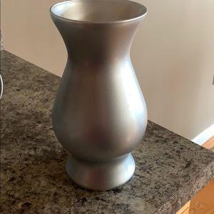 Silver steel vase